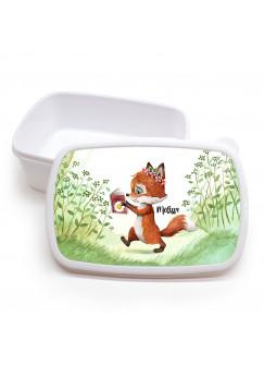 Lunchbox Brotdose weiß Fuchs Füchschen mit Buch & Wunschname Geschenk Schulbeginn Kindergarten LBr13