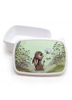 Lunchbox Brotdose weiß Hase Häschen mit Pusteblume im Wald & Wunschname Geschenk Einschulung Kindergarten LBr14