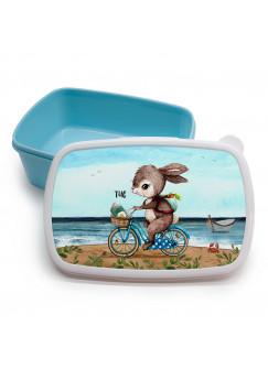 Lunchbox Brotdose blau Hase Häschen auf Fahrrad am Meer & Wunschname Geschenk Einschulung Kindergarten LBr15