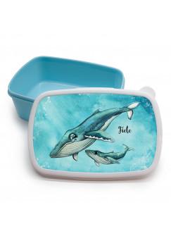 Lunchbox Brotdose blau Wal mit Kind Junges & Wunschname Geschenk Einschulung Kindergarten LBr16