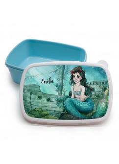Lunchbox Brotdose blau Meerjungfrau versunkenes Schiff mit Wunschname Geschenk Einschulung Kindergarten LBr17