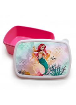 Lunchbox Brotdose rosa Meerjungfrau Korallen mit Wunschname Geschenk Schulanfang Kindergarten LBr18