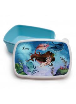 Lunchbox Brotdose blau Meerjungfrau mit Freunde & Wunschname Geschenk Schulstart Kindergarten LBr19