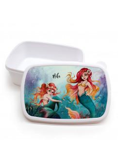 Lunchbox Brotdose weiß mit Meerjungfrau Geschwister & Wunschname Geschenk Schulbeginn Kindergarten LBr20