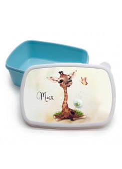 Lunchbox Brotdose blau Giraffe mit Pusteblume & Name Wunschname Geschenk Einschulung Schule Kindergarten LBr22