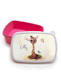 Lunchbox Brotdose rosa Giraffe mit Pusteblume & Name Wunschname Geschenk Einschulung Schule Kindergarten LBr23