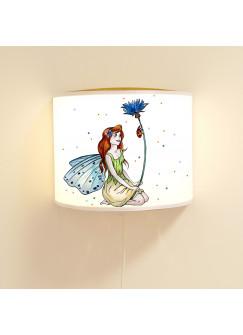 Wandlampe Wandleuchte Lese-Schlummerlampe und Nachtlicht Elfenwiese mit Elfe Fee Kornblume und Punkte blau & orange ls70b