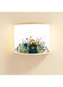 Wandlampe Wandleuchte Lese-Schlummerlampe und Nachtlicht Elfenwiese mit Elfe Fee und Punkten blau & orange ls71b