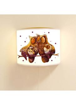 Wandlampe Schlummer-Lampe Lese-SchlummerlichtKinderlampe Eulenfamilie auf Ast mit Punkten Ls41