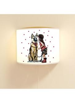 Leseschlummerlampe Lampe mit Hund Schäferhund Mädchen Hundelampe mit Punkte ls78