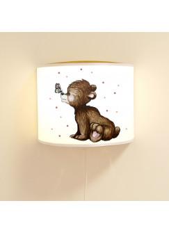 Leseschlummerlampe Lampe süßer Bär mit Schmetterling Bärenlampe Kinderleuchte mit Punkte ls77