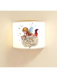 Wandlampe Wandleuchte Lese-Schlummerlampe und Nachtlicht Elfe Fee mit Pusteblume und Sterne ls72