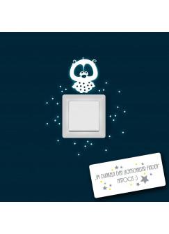 Leuchtsticker Lichtschalteraufkleber Wandtattoo Eule Lilli mit Punkten fluoreszierend nachtleuchtend Wandaufkleber Wandsticker M956