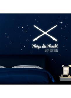 Wandtattoo Lichtschwerter Laserschwerter Möge die Macht mit dir sein mit Sterne und Punkte Leuchtsticker fluoreszierend M1729B