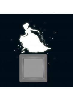 Lichtschaltertattoo Wandtattoo Cinderella Prinzessin mit Sternen und Punkten fluoreszierend M1743