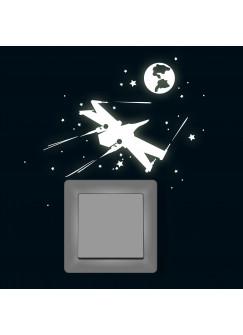 Lichtschaltertattoo Wandtattoo Sternenflotte Raumschiffe Sternenkrieger Leuchtsticker fluoreszierend M1748