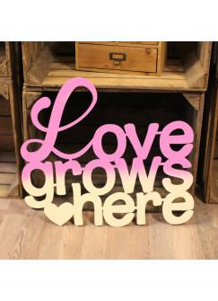Wanddeko Dekoration Holz Holzschriftzug Schriftzug Spruch Zitat Love grows here M2179