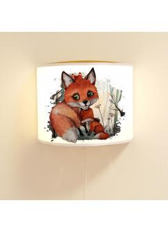 Wandlampe Kinderlampe mit süßen Fuchs & Jungtier Lampe Motivlampe Leselampe Kinderzimmer ls116
