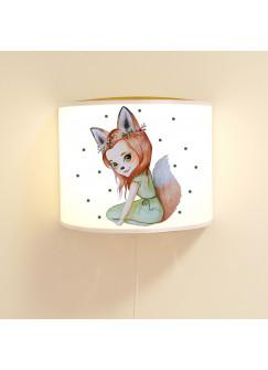 Wandlampe Kinderlampe mit süßen Fuchs Fuchsmädchen Punkte Lampe Motivlampe Leselampe Kinderzimmer ls117