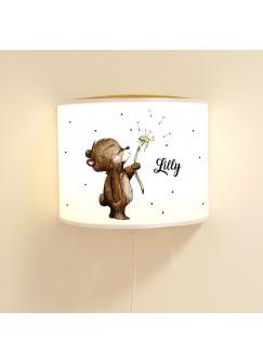 Wandlampe Kinderlampe mit süßen Bär Bärchen Pusteblume Punkte Lampe Motivlampe Leselampe Kinderzimmer mit Name Wunschname ls119