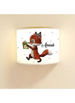 Wandlampe Kinderlampe mit süßen Fuchs Fuchsmädchen & Buch Punkte Lampe Motivlampe Leselampe Kinderzimmer mit Name Wunschname ls120
