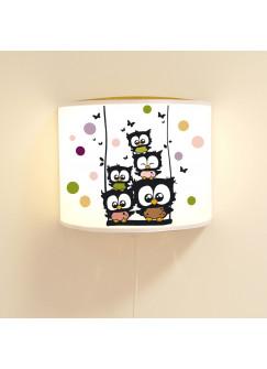 Wandlampe Kinderlampe Schlummer-Lampe Lese-Schlummerlicht Eulen Konfetti auf Schaukel mit Schmetterlingen und Punkten Ls56