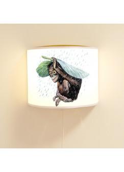 Leseschlummerlampe Lampe mit Affe Schimpanse unter Blatt mit Regentropfen ls79