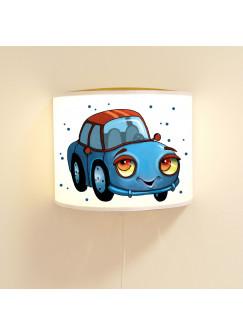 Kinderlampe Wandlampe blaues Auto Lampe Autolampe Jungs mit Punkte ls89