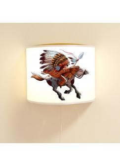 Kinderlampe Wandlampe Indianer auf Pferd Lampe Motivlampe Jungs ls91