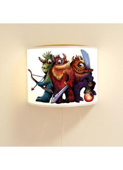 Kinderlampe Wandlampe Monster 3er Bande Lampe Motivlampe Jungs ls93