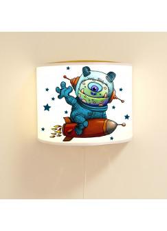 Kinderlampe Wandlampe Monster Astronaut Lampe Weltraum Sterne und Raumschiff Motivlampe Jungs ls95