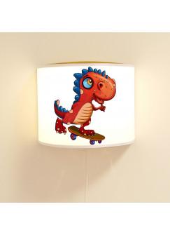 Kinderlampe Wandlampe Dino auf Skateboard Lampe Dinosaurier Motivlampe Dinolampe Jungs ls96