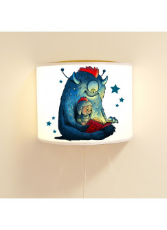 Kinderlampe Wandlampe süßes Monster mit Kind Monsterlampe Lampe Motivlampe Jungs ls97