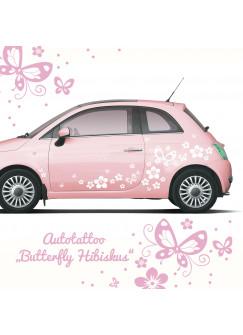 Auto Aufkleber Hibiskus Blumen mit Schmetterlingen M1029