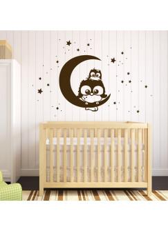 Wandtattoo Eule Lotte mit Baby Mo auf dem Mond M1175