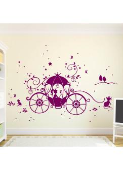 Wandtattoo Prinzessin Cinderella mit Kutsche Mäuse und Sterne M1188