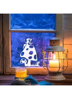 Fensterbild Wandtattoo Elfe Fee auf Fliegenpilz mit Sterne M1231