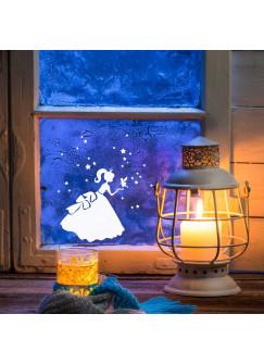 Fensterbild Cinderella mit Elfe Fee und Sternen M1233