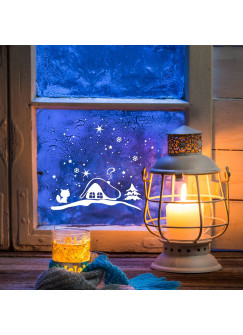 Fensterbild Winterhäuschen mit Fuchs und Sternen M1235