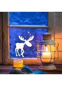 Fensterbild Fensterdeko Elch Rudolf mit Schneeflocken M1236