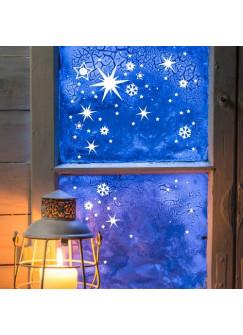 Fensterbild Weihnachten Sterne und Schneeflocken M1244