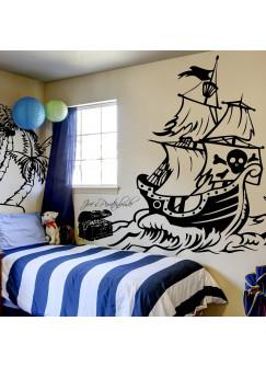Wandtattoo Piratenschiff mit Palme Säbeln Schatztruhe und Wunschnamen M1314