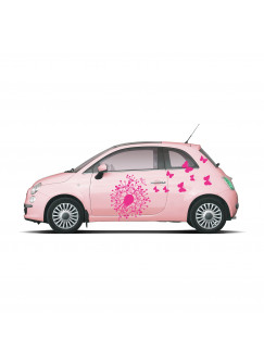 Autoaufkleber Pusteblume mit Schmetterlingen M1349