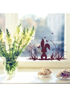 Fensterbild Osterhase auf Wiese mit Schmetterlingen M1364f