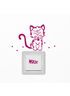 Lichtschaltertattoo Wandtattoo Katze Kätzchen mit Puntken und Schriftzug Mauz M1403