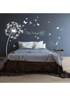 Wandtattoo Pusteblume mit Schmetterlingen und Wunschtext M1416