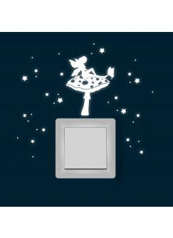 Elfe auf Pilz Fliegenpilz Schmetterling Sterne fluoreszierend M1619