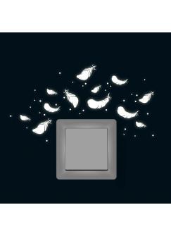 Eulen Feder Federn Punkte fluoreszierend M1623