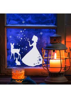 Fensterbild Fensterdeko Eiskönigin Reh Hase Schnee Sterne M1676