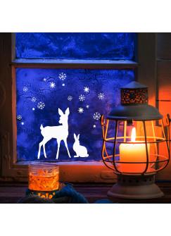 Fensterbild Fensterdeko Wandtattoo Reh Hase Schnee Sterne M1677